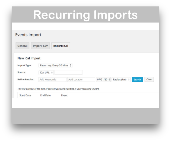 Events Calendar iCal Importer- Recurring Imports Demo