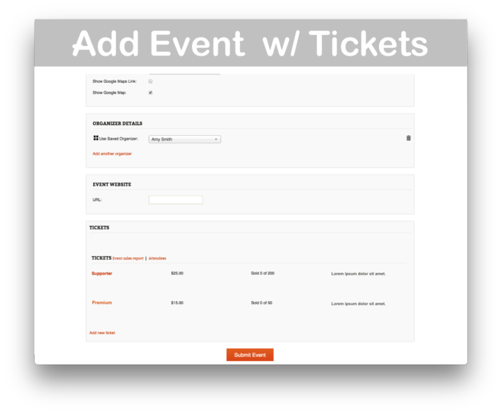 Events Calendar Community Tickets- Add Event with Tickets