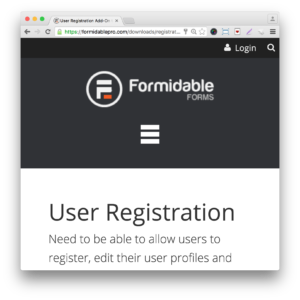 Formidable Pro Forms User Registration Add-On