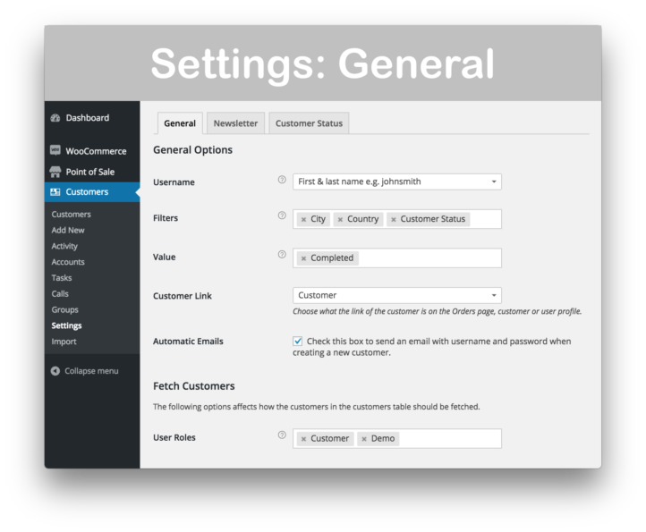WooCommerce Customer Relationship Manager Plugin- General Settings