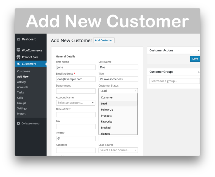 WooCommerce Customer Relationship Manager Plugin- New Customer
