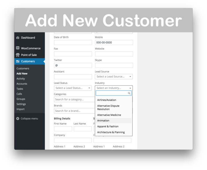 WooCommerce Customer Relationship Manager Plugin- New Customer 2