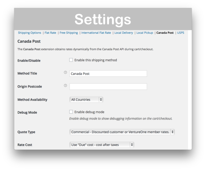 WooCommerce Canada Post Shipping Plugin- Settings