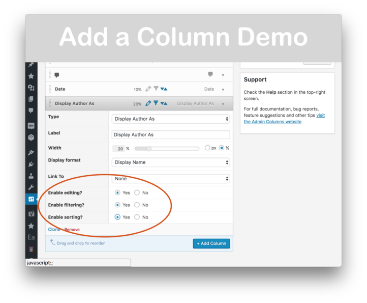 Admin Columns Pro Download - Add Column Demo 2