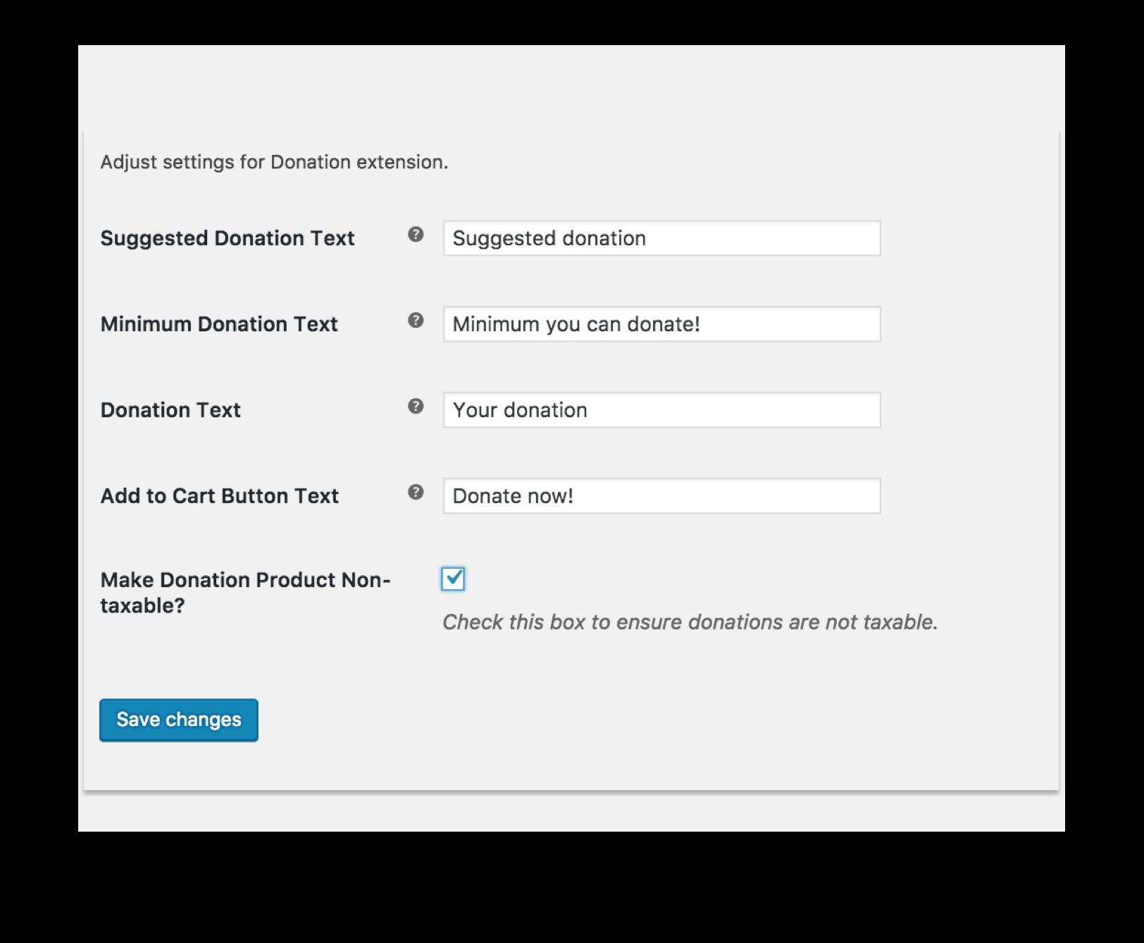 WooCommerce Donations Plugin - Settings Demo