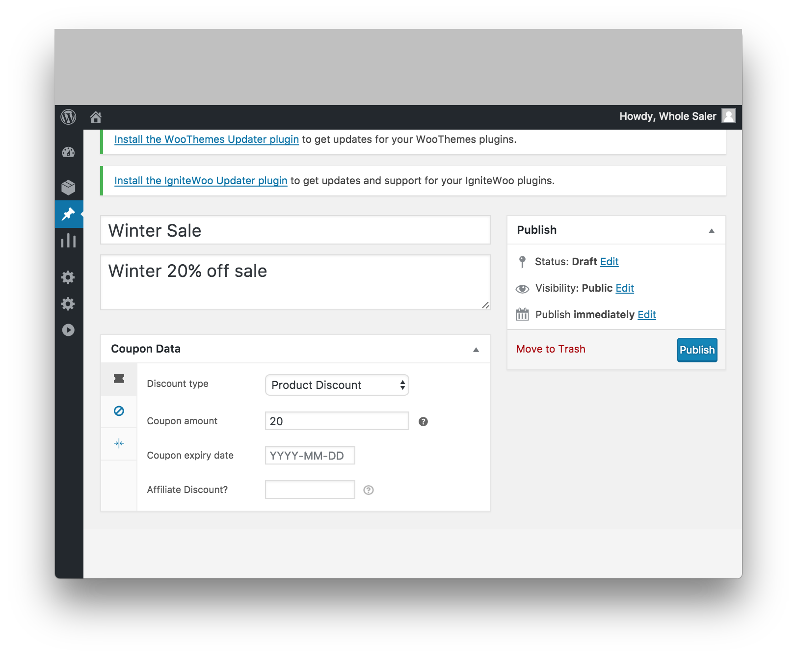 WooCommerce Vendor Stores Download - Vendor Coupon Add