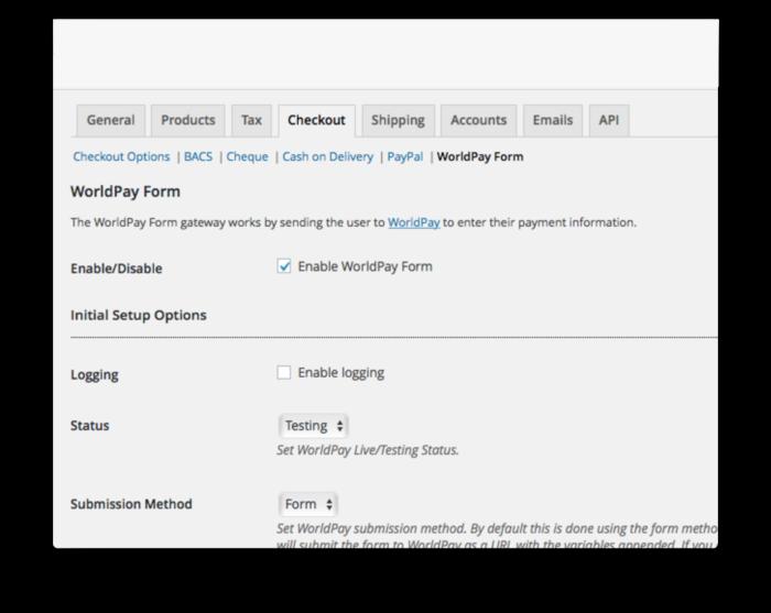 WooCommerce Worldpay Gateway Plugin - Settings Demo