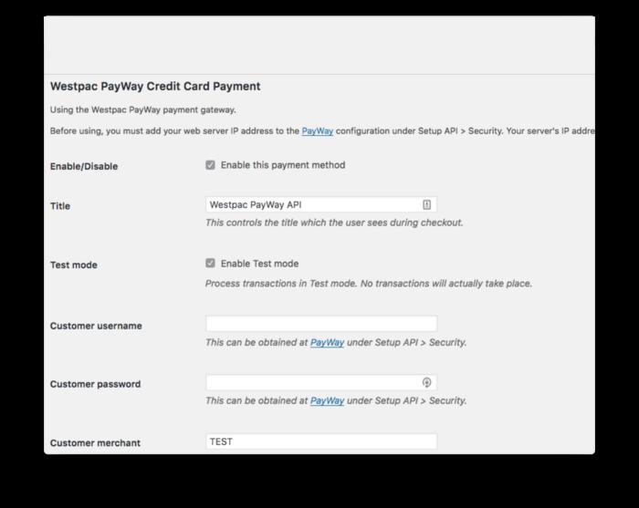 WooCommerce Westpac PayWay API Payment Gateway Plugin: $25