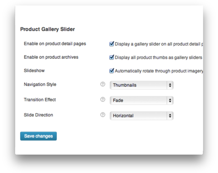 WooCommerce Product Gallery Slider - Settings Demo