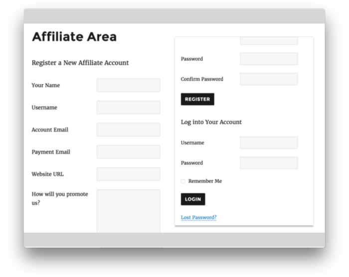 AffiliateWP Plugin - Affiliate Signup Form