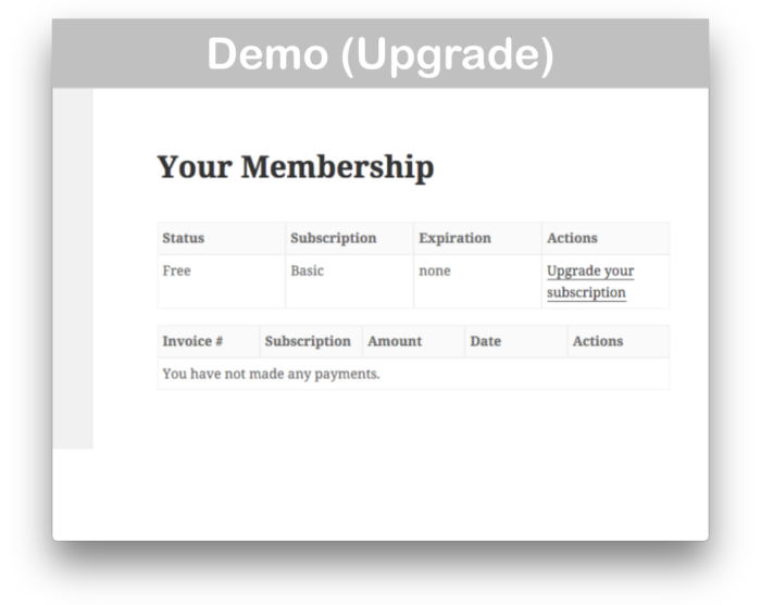 Restrict Content Pro WooCommerce Plugin- Upgrade Demo