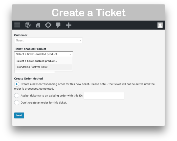 WooCommerce Box Office Plugin - Create Ticket