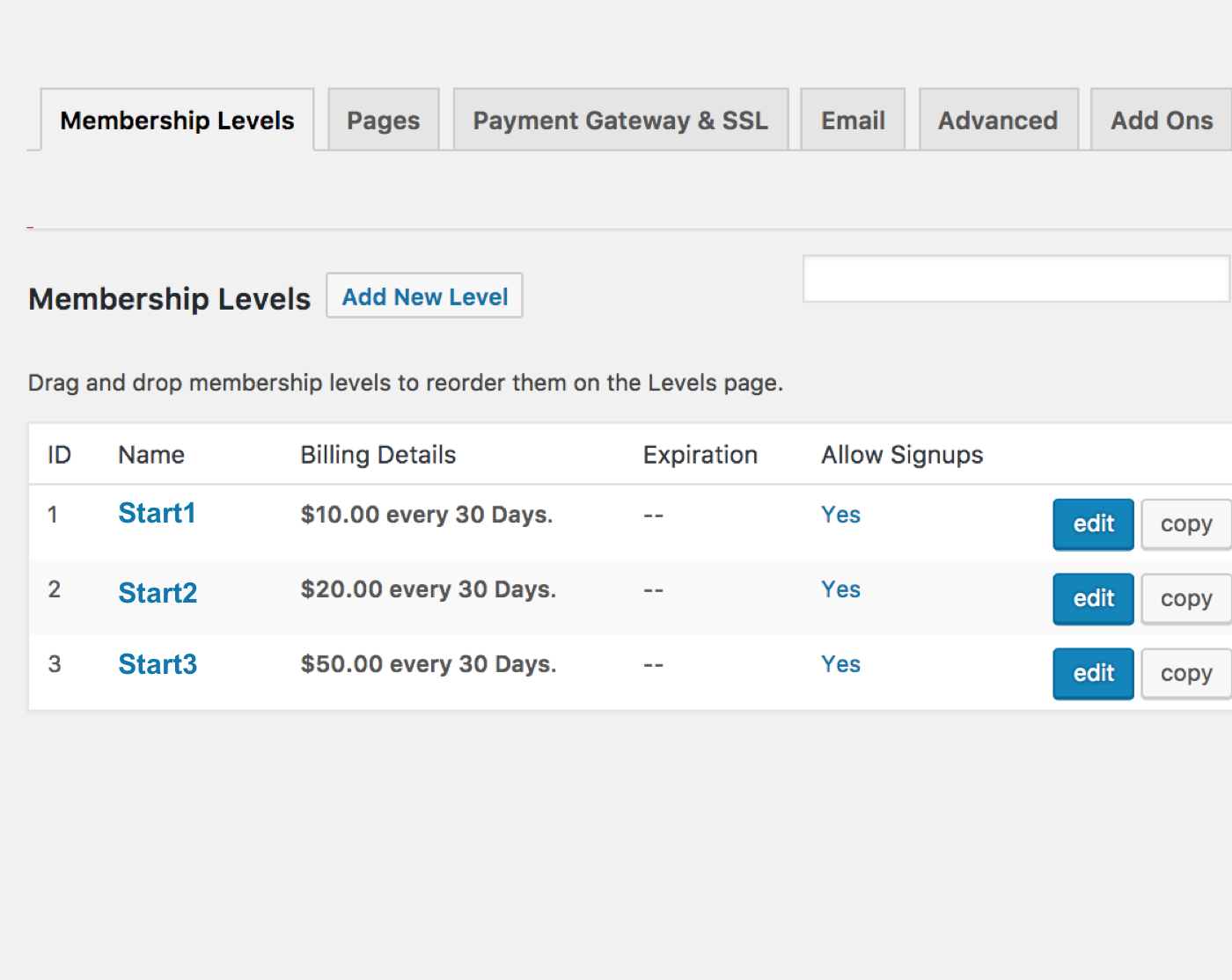 Paid Memberships Pro WordPress Plugin – Demo Levels