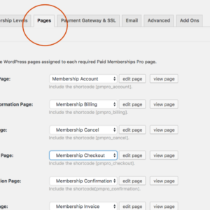 Paid Memberships Pro WordPress Plugin – Page Settings