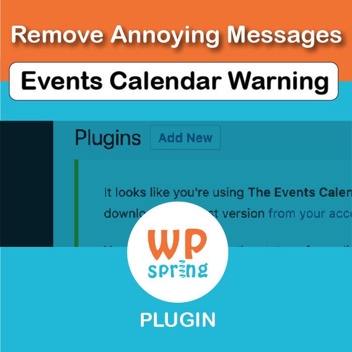 Remove The Events Calendar Pro License Warning Plugin, V1